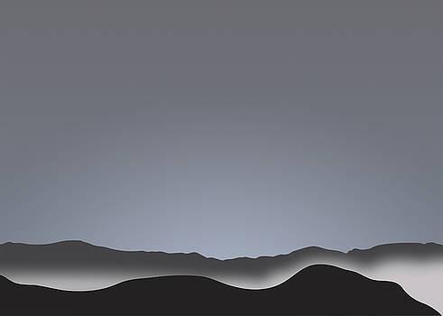 Stan  Magnan - Foggy Black Mountain Range at Dusk