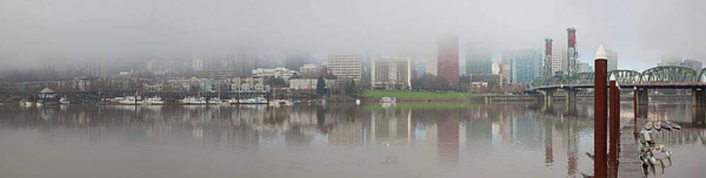 Foggy Day along Portland Waterfront Panorama by David Gn