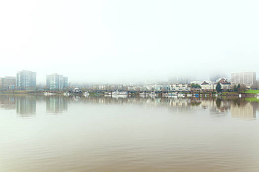 Foggy Day on Portland Downtown Waterfront by David Gn