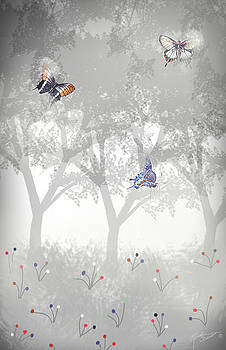 Foggy Forest with Giant Butterflies by Rosalie Scanlon
