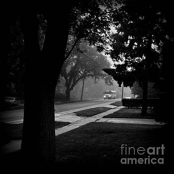 Foggy Morning Bus Ride - Black and White by Frank J Casella