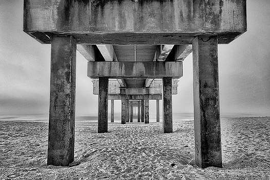 Foggy Morning Pier by Gej Jones