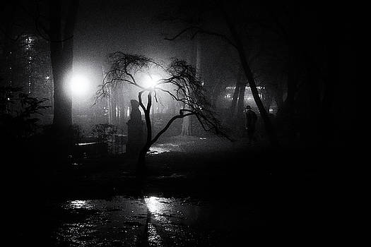 Foggy night Berlin - street photography by Frank Andree