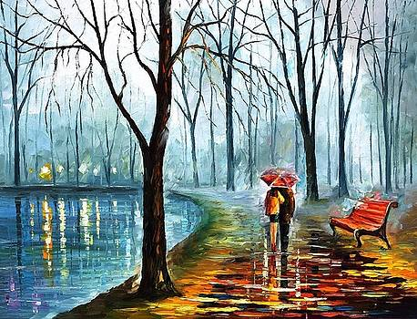 Foggy Rain - PALETTE KNIFE Oil Painting On Canvas By Leonid Afremov by Leonid Afremov