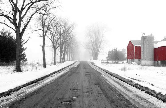 Foggy Red Barn by Cathy Beharriell