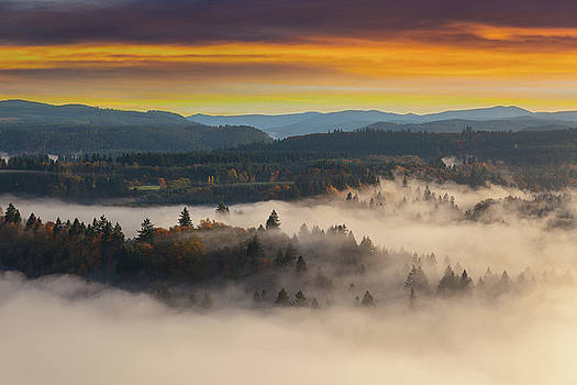 Foggy Sandy River Valley during Sunrise by Jit Lim