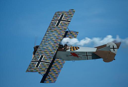 John Clark - Fokker D.VII trailing smoke in flight