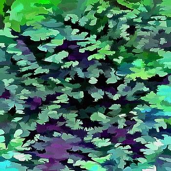 Foliage Abstract Pop Art In Jade Green and Purple by Tracey Harrington-Simpson