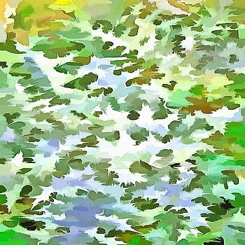Foliage Abstract Pop Art In White Green and Powder Blue by Tracey Harrington-Simpson