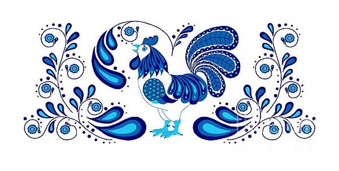 Folk Art Rooster in blue by Ruanna Sion Shadd a'Dann'l Yoder