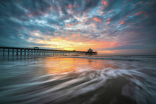 Folly Beach SC Ocean Seascape Charleston South Carolina Scenic Landscape by Dave Allen