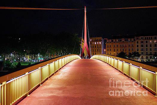 Footbridge at Night in Lyon by George Oze