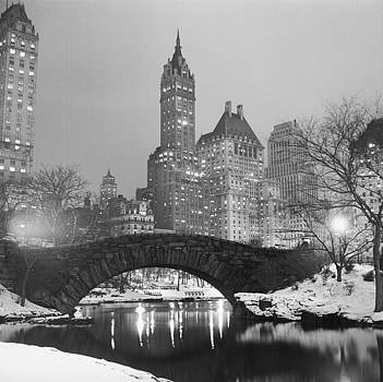 Footbridge In Snowy Central Park by MotionAge Designs