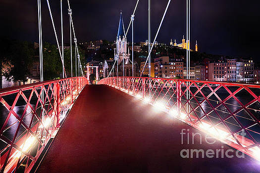 Footbridge St Georges at Night in Lyon by George Oze