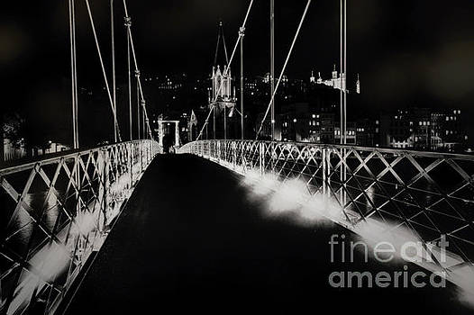 Footbridge to Old Lyon at Night by George Oze