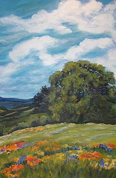 Foothills Wildflowers and Lone Oak SOLD by Therese Fowler-Bailey