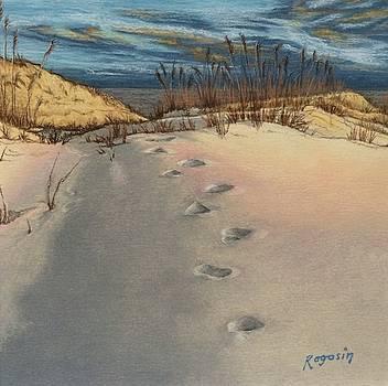 Footprints in the Snowy Dunes by Harvey Rogosin