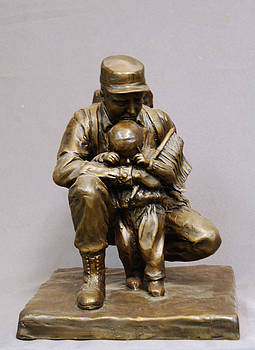 For Future Freedom bronze sculpture of soldier and child by Stan Watts by Stan Watts