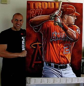 For Sale Mike Trout Limited Edition Giclee Canvas Prints 40 x 30 inches by John prince