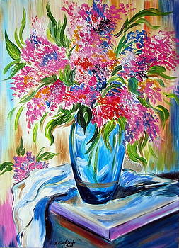 For the love of flowers in a blue vase by Roberto Gagliardi
