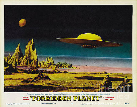 R Muirhead Art - Forbidden Planet in CinemaScope retro classic movie poster detailing flying saucer