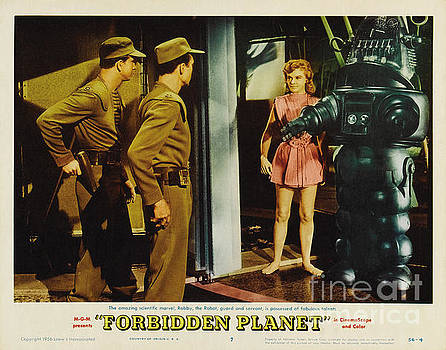 R Muirhead Art - Forbidden Planet in CinemaScope retro classic movie poster indoors with Robby