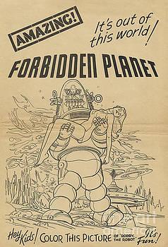 R Muirhead Art - Forbidden Planet in color this picture retro classic movie poster portraite