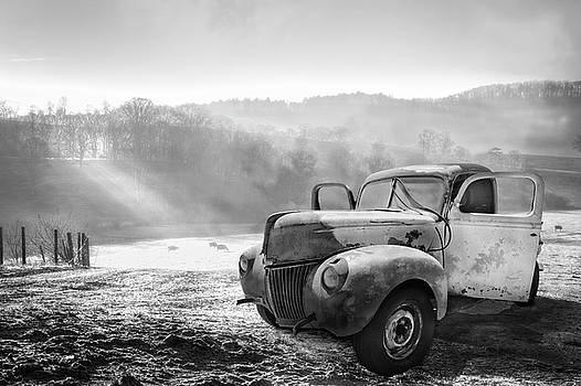 Debra and Dave Vanderlaan - Ford in the Fog Black and White