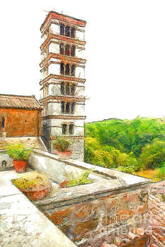 Foreshortening with bell tower and wood by Giuseppe Cocco