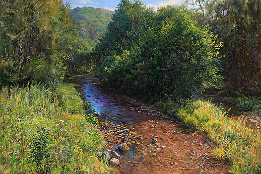 Forest river summer day by Galina Gladkaya