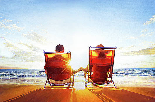 Forever - A Couple on a Beach Watching a Sunset by Mark Woollacott