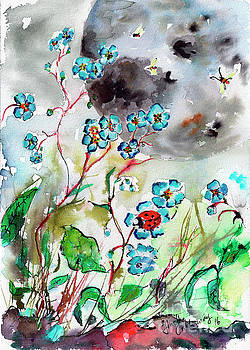 Ginette Callaway - Forget Me Not and Super Moon Watercolor