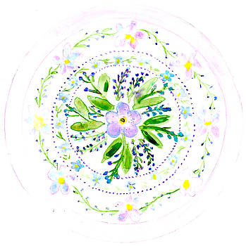 Forget Me Not Botanical Mandala by Louise Gale