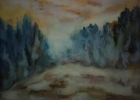 Forgotten road through the forest by Madina Kanunova