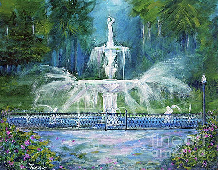 Forsyth Fountain in Savannah by Doris Blessington