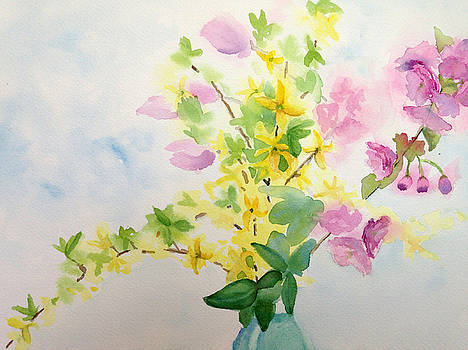 Forsythia and Apple Blossoms by Katie Cornog