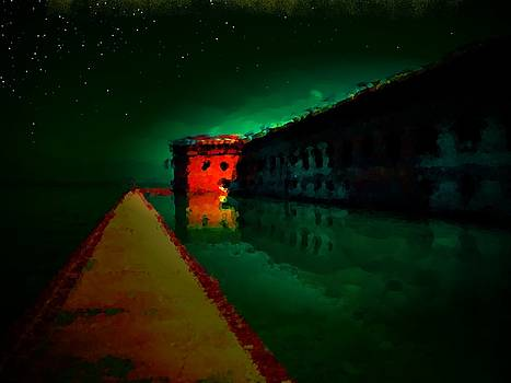 Fort Jefferson at Night with Stars by Julie Harrington