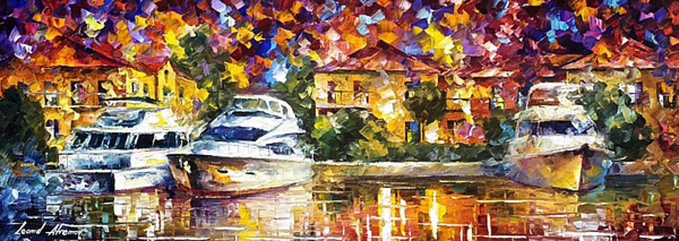 Fort Lauderdale Canal - PALETTE KNIFE Oil Painting On Canvas By Leonid Afremov by Leonid Afremov