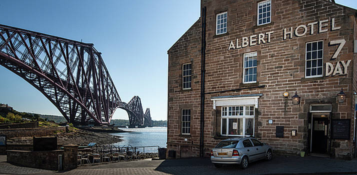 Forth Rail Bridge and Albert Hotel  by Alex Saunders