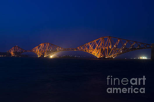Forth rail bridge at night 1 by Steev Stamford
