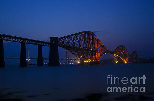 Forth rail bridge at night 2 by Steev Stamford