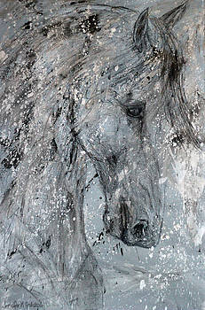 Fortitude Abstract Horse Painting by Jennifer Godshalk