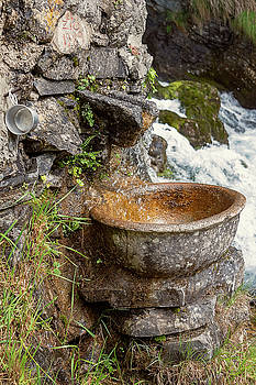 Fountain and Tin Cup Lake Como Italy by Joan Carroll