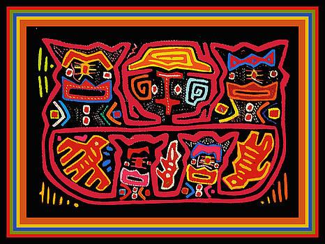 Four Cats Three Birds by Vagabond Folk Art - Virginia Vivier
