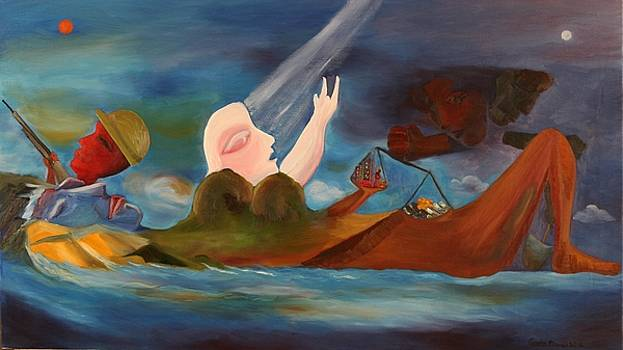 Four classes in the World large oil painting abstract conceptual art by Geeta Biswas