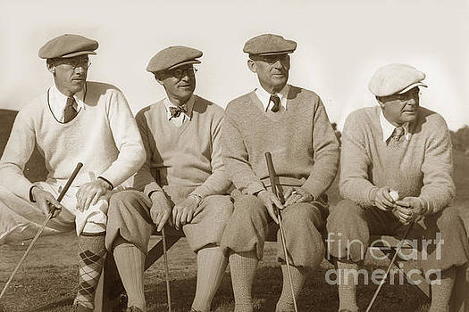 California Views Mr Pat Hathaway Archives - Four golfers on a bench circa 1930