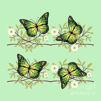 Four green butterflies by Gaspar Avila