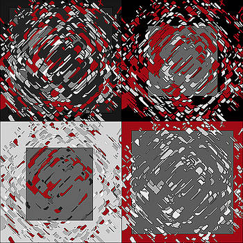 Four Panel Black Gray Red Abstract by Joy McKenzie