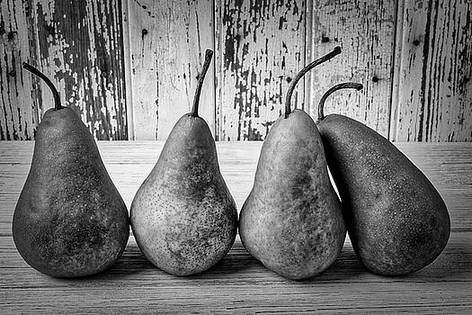 Four Pears Still Life In Black And White by Garry Gay