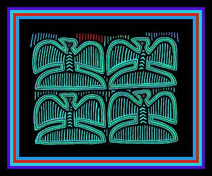 Four Pigeons at Night by Vagabond Folk Art - Virginia Vivier
